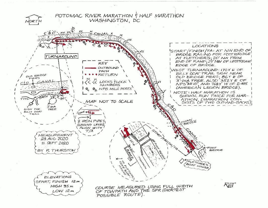Potomac River Run Marathon  Half - Nyc marathon course map pdf